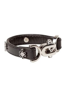 MADRID CUFF BLACK LEATHER, SILVER BP FINISH