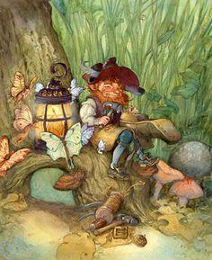 LEPRECHAUN watercolor © David T. Wenzel (Artist, USA).  Under Miscellaneous Holiday Prints. $79 ... ... Ireland, Fairy, Cobbler, Tree, House, Lantern, Moths, Luna Moth,
