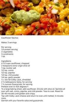 Lean and Green - Cauliflower Nachos - Recipes - Medifast Recipes, Low Carb Recipes, Cooking Recipes, Healthy Cooking, Bariatric Recipes, Healthy Meals, Skillet Recipes, Healthy Eating Habits, Diet Meals