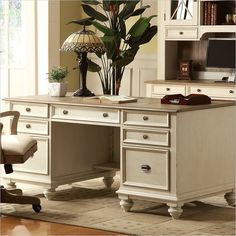 LOVE this home office! Riverside Furniture Coventry Two Tone Executive Desk in Dover White White Home Office Furniture, White Desk Office, White Desks, Home Office Desks, Office Table, Basement Office, Office Spaces, Home Staging, Coventry