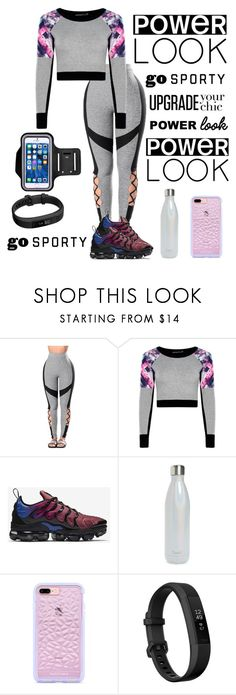 """""""workout outfit #2 imprint ♀️."""" by brookporter622 ❤ liked on Polyvore featuring WithChic, NIKE, S'well and Fitbit"""