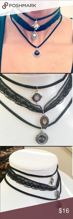 New!🛑 3 pc Juliet Choker set Accessories are the make it or break it point of an outfit. Each set is of these 3 chokers pictured here. Adjustable for a layered look. Wear together or just keep it simple.  Silver plated/velvet & lace chokers. Purple, peach & blue jewels. Jewelry Necklaces