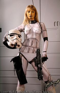 """Look closely - her Stormtrooper """"suit"""" is actually painted on! All that's real are the helmet, gun, holster and underwear to hold the holster on. Amazing!"""
