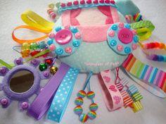 Sensory Rattle Educational development toy ribbon by WondersOfFelt