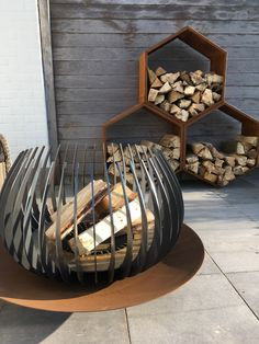 Outside Fireplace, Custom Fire Pit, Outdoor Stove, Metal Fire Pit, Firewood Storage, Fire Pit Designs, Garden Sofa, Fire Bowls, Outdoor Living Areas