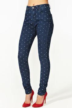 Dixie Skinny Jeans - Polka Dot