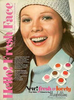 Maybelline Fresh and Lovely Glossers Kim Basinger 1970s Makeup, Vintage Makeup Ads, Retro Makeup, Vintage Beauty, Vintage Ads, Kim Basinger, Retro Advertising, Vintage Advertisements, Retro Ads