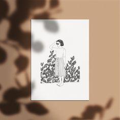 Affiche 50 x 70 cm - Dessin Femme - Plante Végétale - Illustration réalisé à la main - Edition à tirage limité et numéroté - monocotylédone Illustrations, Inktober, Etsy, Vegetable Illustration, India Ink, Calligraphy, Impressionism, Graphic Design, Event Posters
