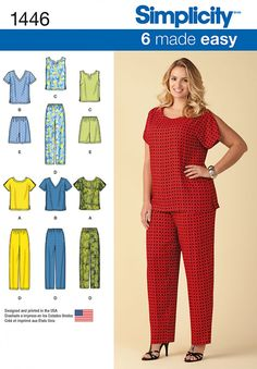 Simplicity 1446 Six Made Easy Pull on Tops and Pants or Shorts for Plus Size Sewing Pattern