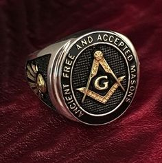 Very fine Masonic ring: A.Ancient Free and Accepted Masons. With filigree Symbols on the side of the ring: Compasses & square-tool and the All seeing eye. This high-quality silver ring is handmade in highest quality craftsmanship.