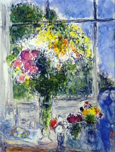 Window in Artist's Studio by Marc Chagall #Jewish #art #marc-chagall #marcchagall #MarcChagall