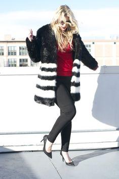 Britt+Whit: Black and White faux fur @michaelkors coat