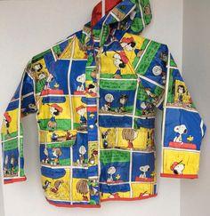 Vtg 1980s Snoopy Peanuts Rain Coat Children's Size 6X/7 Reversible Vinyl Jacket #UnitedFeatureSyndicateInc