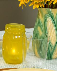 This version of the painted jar is baked and uses paint that makes this outdoor votive holder safe for the dishwasher. Thanks Martha Stewart!