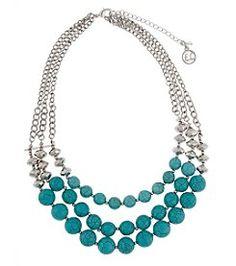 Erica Lyons® Three Row Bead Front Silvertone Necklace