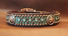 1 1/2 Leather Dog Collar with Conchos Swarovski by LittleGLeather