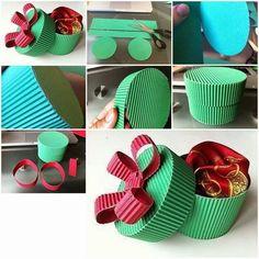 Caja de papel circular de papel corrugado Pinterest Paper bows