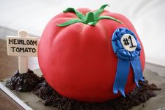 This plump tomato birthday cake was made for someone with a green thumb and a love for heirloom tomatoes. Everything from the wooden sign to the dirt is edible. Oftentimes the best birthday cake i. Cool Birthday Cakes, 50th Birthday, Birthday Ideas, Tomato Cake, Heirloom Tomatoes, Food Themes, Cupcake Cakes, Cupcakes, Creative Cakes