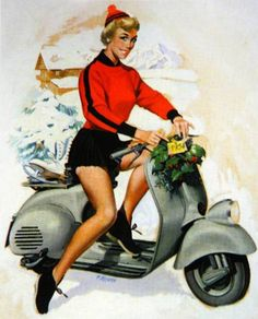 Vespa calendar pin-up in the snow (january) by F. Mosca 1954