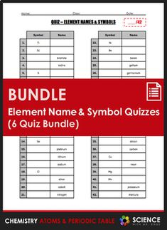 quiz element names and symbols 6 quiz bundle - Periodic Table Charges Quiz