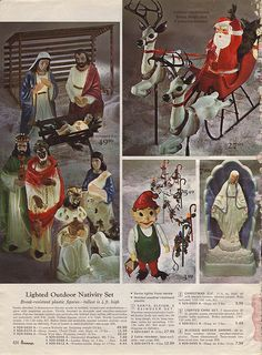 Blow Mold Christmas Decorations from the J.C. Penney Christmas Catalog, 1966 - My parents had the three wise men and shepherd shown on the left that we used with a different Mary and Joseph.
