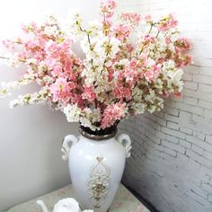 High quality Japanese cherry blossoms Artificial silk flower Home hotel mall wedding decoration flowers Photo studio props Shabby Chic Kunst, Shabby Chic Decor, Artificial Silk Flowers, Fake Flowers, Cherry Blossom Flowers, Garage Walls, Wedding Flower Decorations, Outdoor Signs, Tin Signs