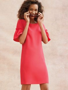 Making BOLD a statement with the Ruffle Sleeve Shift Dress.