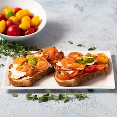 Tomato Toast | DIVERSE DINNERS Tomato Toast Recipe, Aged Cheese, Rustic Bread, Small Tomatoes, Those Recipe, How To Make Cheese, Drying Herbs, Vegan Vegetarian, Food Print