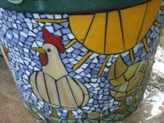 mosaic chicken | Chicken Mosaic Flower Pot | Flickr - Photo Sharing!