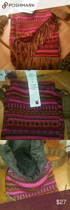 MUCK LUKS  xbody/waist fringe bag NWT SALE!! Jewel tone knit tribal pattern in berry,  burnt orange and brown, faux suede fringe and wooden button embellishment, snap closure and adjustable strap for crossbody or waist use, great for a festival or concert. Brand spankin new with tags Muk Luks Bags