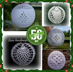 5 crochet christmas balls ornament pdf by ZiccaHandmadeCrochet