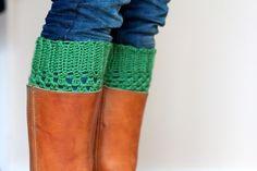 Boot cuffs! #crochet #emerald #love