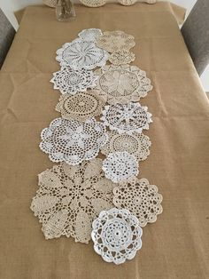****IMPORTANT : This is the doily set ONLY (NOT the finished doily runner) :) ~~ All doilies are NEW and in good condition. ~~ Nice gift for Mom. ~~Quantity: 14 pcs in ~~Color: White and Beige. ~~Size: Approx. (4~10) inches Round Tips: You can use this DIY doily set to make the Dream Catchers, Lamp Covers, Doilies Runner or whatever you want to create. By the way, the doilies runner showing in this listing is approx. 40x160cm :) ----------------------------------------------------------- ... Crochet Decoration, Paper Doilies, Doilies Crafts, Crochet Doilies, Knit Crochet, Framed Doilies, Doily Art, Crochet Table Runner, Vintage Crafts
