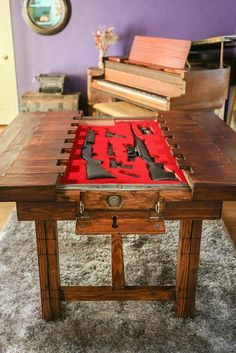 Woodworking Shop Dining Room Table with Secret Compartment for Storing Guns or other Valuables Hidden Compartments, Secret Compartment, Hidden Gun Storage, Weapon Storage, Secret Storage, Hidden Rooms, Table Design, Secret Rooms, Table Storage