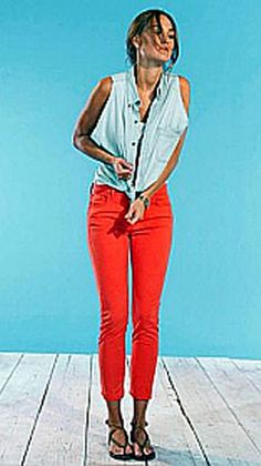 Bright coral skinnies? and denim top? Yes, please!