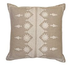 Indian Ivory Embroidered Pillow