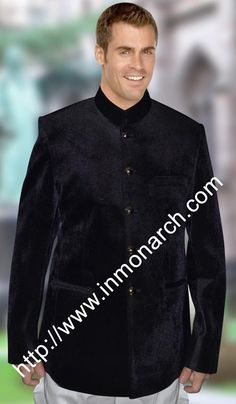 Traditional Nehru collar dark purple velvet blazer made from velvet fabric. This is traditional five button nehru jacket.