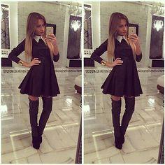 Sexy Lady Turn-Down Collar Casual Bodycon Long Sleeve Black Short Mini Dress Autumn Clothing #Affiliate