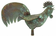 ANTIQUE FRENCH ROOSTER COPPER WEATHER VANE