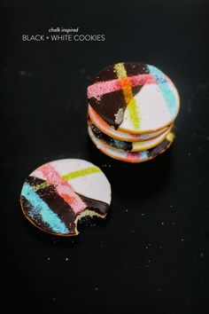 Chalk Inspired Black & White Cookies |   Read more - http://www.stylemepretty.com/living/2013/06/28/chalk-inspired-black-white-cookies/