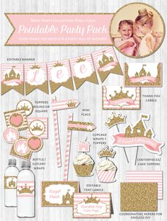 Princess Party Decor: Pink & Gold Glitter Baby Shower Birthday Party