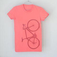 SALE - Small Women s Coral Bicycle Tshirt 038 4c432b7ec