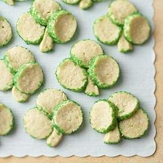 Fun shamrock cookies to make for St. Patrick's Day--or any day. Kids like the color o-green, sparkle o-green sugar, and flavor o-mint.
