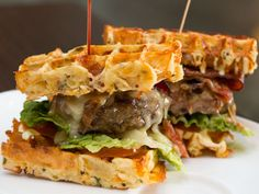 Bacon, Lettuce And Tomato Sandwiches With Cheese And Herb Waffle Toast ...