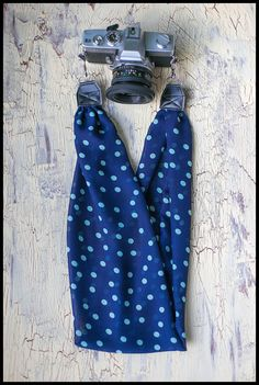 Scarf Camera Strap - Navy with Teal Polka Dots (choose end color and style) by AmandaJeanCreations on Etsy