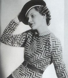 "European Jumper, 1930s ""These European jumpers with their graphic patterns would have been worn for casual daywear or resortwear, and are much more fitted than the loose jersey versions of the Twenties. Twinsets were popular and knitted cardigans..."
