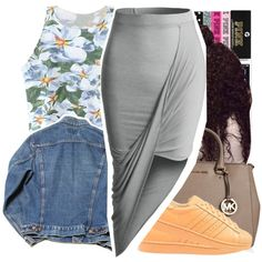 A fashion look from October 2015 by prvncessbeautifulmee featuring Chicnova Fashion, LE3NO, adidas Originals, MICHAEL Michael Kors and Victoria's Secret PINK