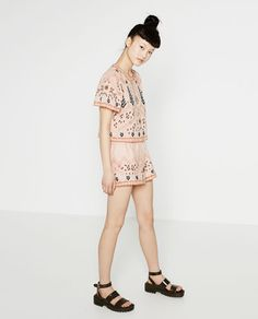 Image 1 of EMBROIDERED SHORTS from Zara