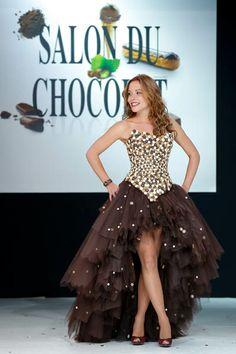 Dounia at the Salon Du Chocolat fashion show in Paris.