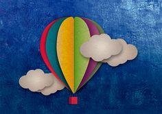 Air balloon - Globo aerostatico para portada de album fotografico